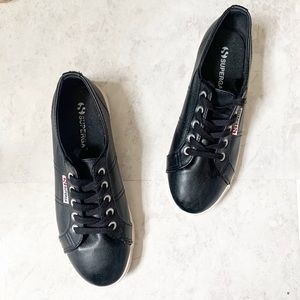 SUPERGA Black Faux Leather Sneakers Cotu Low Top 7